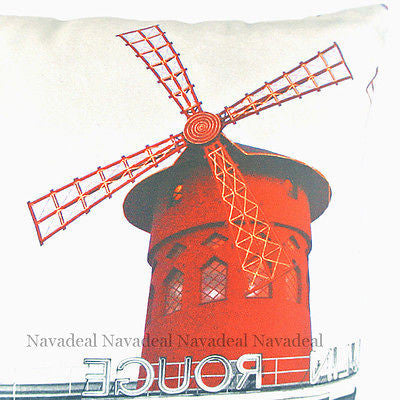France Paris Red Moulin Rouge Vintage Decorative Pillow Case Cushion Cover