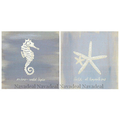 2Pcs Painting Ocean Sea Star Sea Horse Art Decorative Canvas Wall Poster Picture