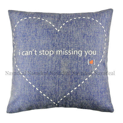 Blue Heart Cant Stop Missing You Art Decorative Pillowcase Cushion