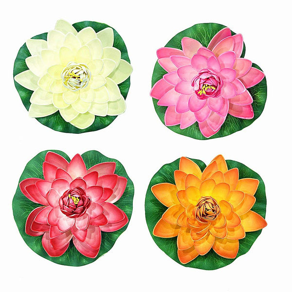 NAVAdeal 4PCS Artificial Floating Foam Lotus Flowers, Realistic Water Lily Pads, Vibrant Color Pink Ivory Orange Crimson, Perfect for Home Garden Patio Pond Pool Aquarium Fish Tank Wedding Party Decor