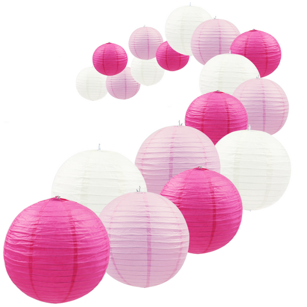 UNIQOOO 18Pcs Premium Assorted Size/Color Pink Paper Lantern Set, Reusable Hanging Decorative Japanese Chinese Paper Lanterns, Easy Assemble, for Birthday Wedding Baby Shower Holiday Party