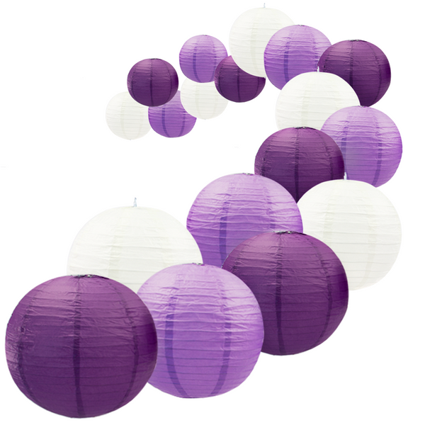 UNIQOOO 18Pcs Premium Assorted Size/Color Purple Paper Lantern Set, Reusable Hanging Decorative Japanese Chinese Paper Lanterns, Easy Assemble, for Birthday Wedding Baby Shower Holiday Party