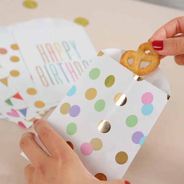 UNIQOOO 72Pcs Assorted Treat Bags Bulk,6 Design,Cookie Candy Goody Pastry Bag,Gold Foil Pastel Color,7½ x4¾ x½ Inch,Food Safe Grade,for Kids Birthday,Halloween,Thanksgiving,Party Favor Decoration