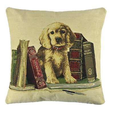 Golden Retriever Puppy Books Decorative Pillow Case Cushion Cover Shams
