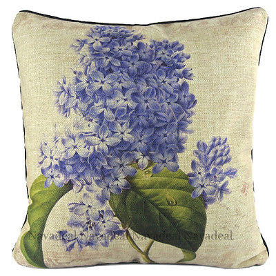 Vintage Purple Star Orchid Hyacinths Decorative Pillow Case Cushion Cover