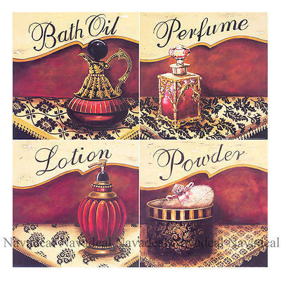 4pcs Painting Bath Oil Perfume Lotion Powder Salon Decorative Canvas Wall Poster