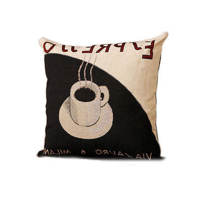 Beige Italian Espresso Coffee Art Decorative Pillow Case Cushion Cover Sham