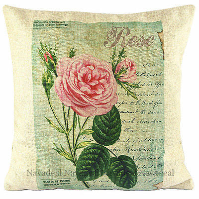 Big Pink Green Rose Vintage European Art Decorative Pillowcase Cushion Cover