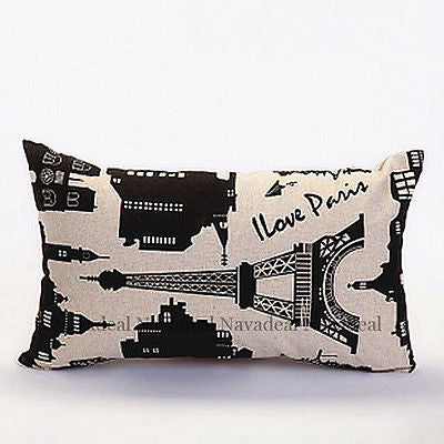 I Love Paris Eiffel Tower Sketch Decorative Lumbar Pillow Case Cushion Cover