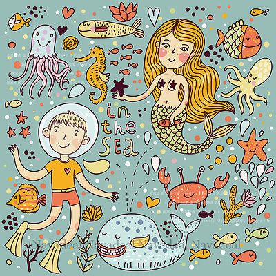 Sea Cartoon Mermaid Whale Fish Octopus Kid's Room Art Decor Canvas Wall Poster