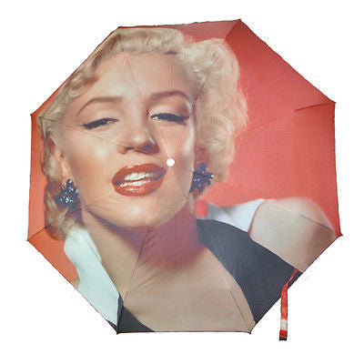 Red Classic Marilyn Monroe Icon UV Protect Auto Tri-Fold Umbrella Parasol