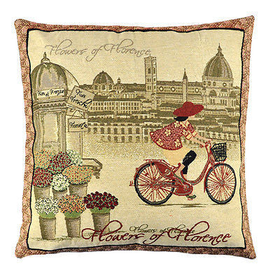 Vintage Florence Flower Red Cycling Girl Decorative Pillow Case Cushion Cover