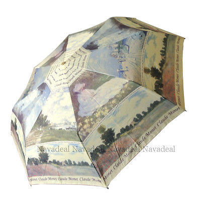 "41""Classic Claude Monet Poppy Field Oil-Painting Automatic 3-Fold Umbrella"