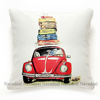 Luxury Satin Vintage Red Car Cases Travel Decorative Pillowcase Cushion Cover