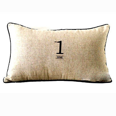 Light Brown Vintage Print No.1 Logo Decorative Lumbar Case Cushion Cover Sham
