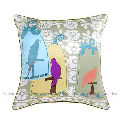 Colorful 3 Birds Cage Flower Garden Art Decorative Pillowcase Cushion Cover Sham