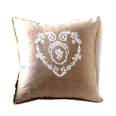 Beige Vintage Heart Flora Decorative Country Art Pillow Case Cushion Cover