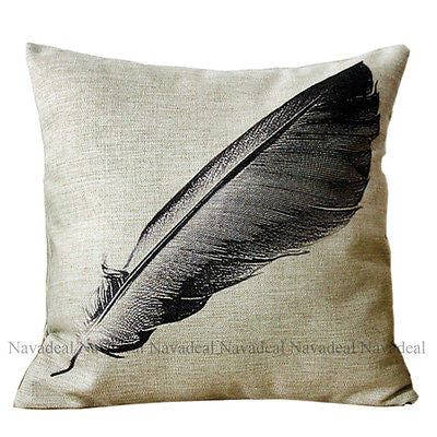 Big Black Quill Feather Pen Sketch Vintage Decorative Pillow Case Cushion Cover