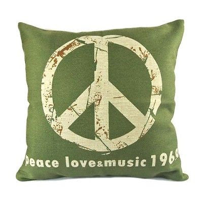 Green Beige Anti War Symbol Peace Love Music 1969 Linen Pillow Case Cushion