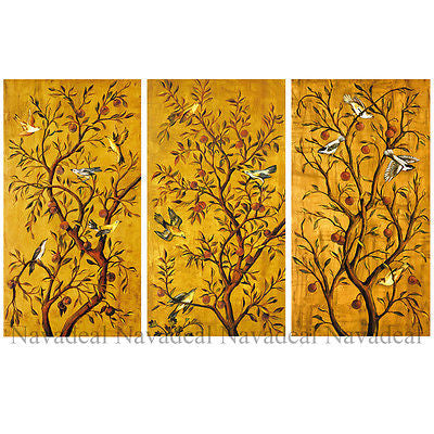 3pcs Painting Golden Tree Of Happiness Love Birds Fortune Canvas Wall Posters