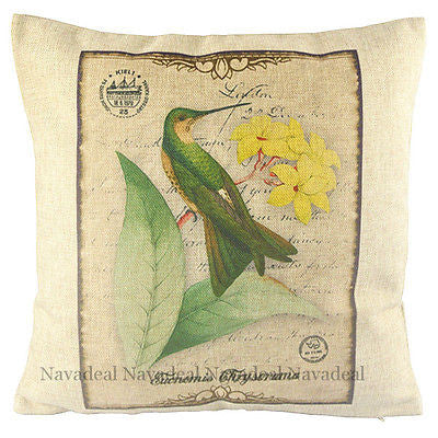 Vintage Hummingbird Yellow Flower Postcard Decor Pillow Case Cushion Cover