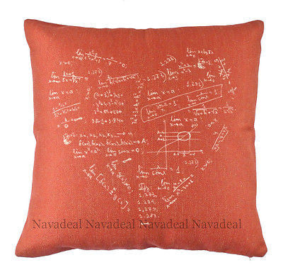 Red Math Lover Equation Nerd Morden Art Decorative Pillow Case Cushion Cover