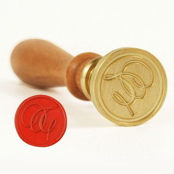 Vintage Slim Tight Script Initial T Wax Sealing Stamp