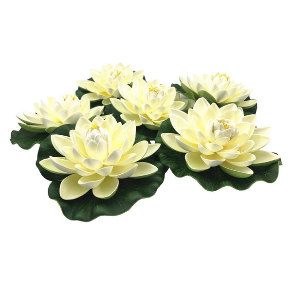 NAVAdeal 6 Count Ivory White Artificial Floating Lotus Flowers, Lily Pad Ornaments, Perfect for Koi Pond Pool Aquarium Home Garden Birthday Party Wedding Decoration