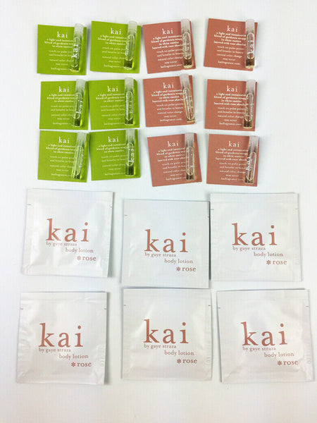 KAI 18Pcs TRAVEL SET-6 Perfume Vial/6 Rose Perfume Vial,6 Rose Body Lotion 5ml