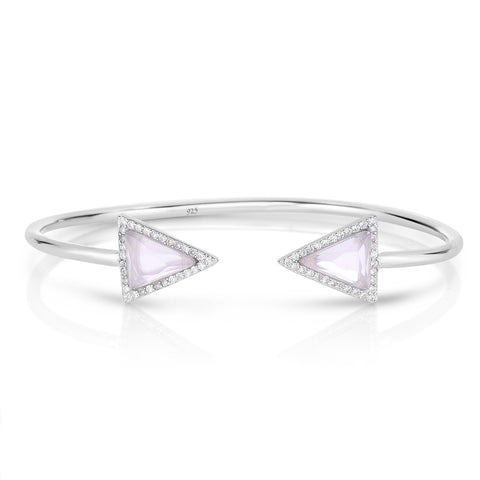 STERLING SILVER CZ BANGLE WITH TRIANGULAR CRYSTAL