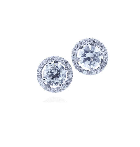 SILVER CZ HALO STUD EARRING-6MM