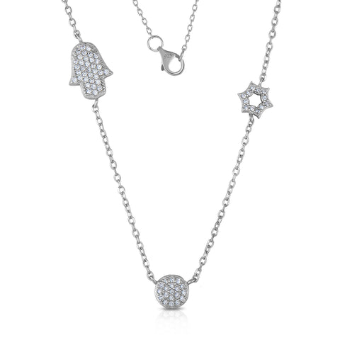 STERLING SILVER CZ HAMSA, STAR OF DAVID & ROUND PAVE DISC NECKLACE