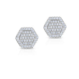 STERLING SILVER CZ PAVE OCTAGON STUD EARRINGS
