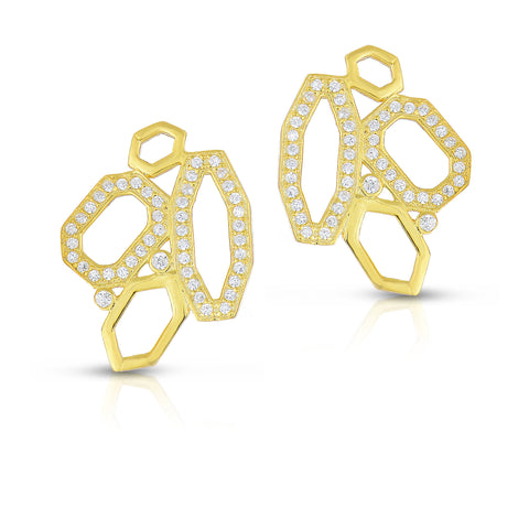 STERLING SILVER HOLOW CZ MOSAIC EARRINGS
