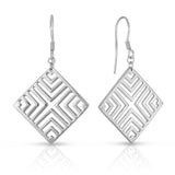 STERLING SILVER SQAURE LINEAR PATTERN DROP EARRINGS