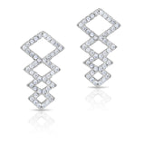 STERLING SILVER CZ STACKED DIAMONDS EARRINGS