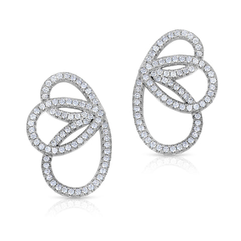 STERLING SILVER PETALS CZ EARRINGS