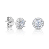 STERLING SILVER HALO CZ EARRINGS