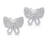 STERLING SILVER CZ PAVE BUTTERFLY EARRINGS