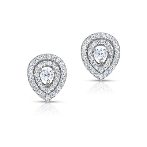 STERLING SILVER CZ DOUBLE HALO EARRINGS