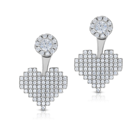 STERLING SILVER CZ PAVE HEART FRONT & BACK EARRINGS