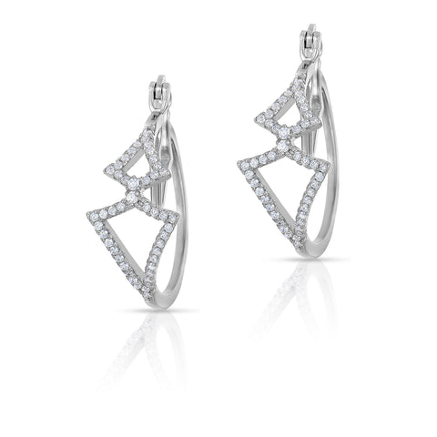 STERLING SILVER CZ DIAMONDS HOOP EARRINGS