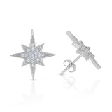 STERLING SILVER CZ COMPASS STAR EARRINGS