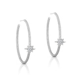 STERLING SILVER MINI CZ COMPASS STAR HOOP EARRINGS