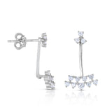 STERLING SILVER CLUSTER CZ FRONT & BACK EARRINGS