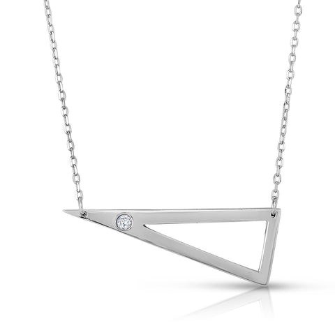 STERLING SILVER PLAIN TRIANGLE WITH CZ NECKLACE