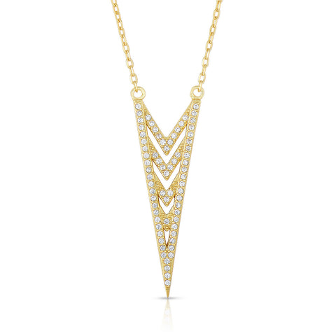 STERLING SILVER CZ ARROW NECKLACE