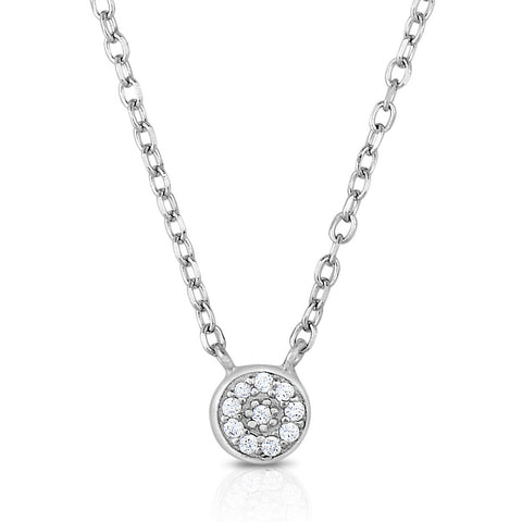 STERLING SILVER MINI CZ PAVE HALO NECKLACE
