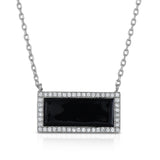 STERLING SILVER CZ & RESIN RECTANGLE NECKLACE