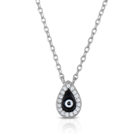 STERLING SILVER CZ TEAR DROP SHAPE EVIL EYE NECKLACE
